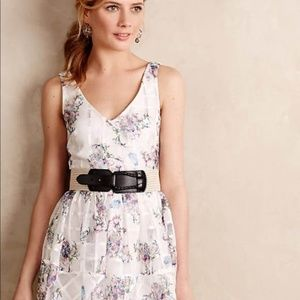 Anthropologie Mauve White Floral Dress